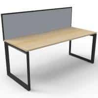 Elite Loop Leg Single Desk, Natural Oak Desk Top, Black Under Frame, with Grey Screen Divider