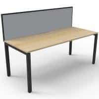 Elite Single Desk, Natural Oak Desk Top, Black Under Frame, with Grey Screen Divider