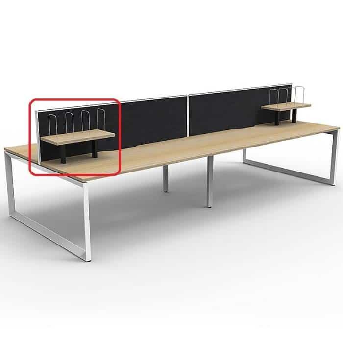 Optional Desk Mounted Shelf, Natural Oak with Black Frame, Black Screens