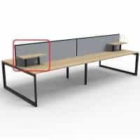 Optional Desk Mounted Shelf, Natural Oak with Black Frame, Grey Screens