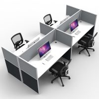 Space System Screen Hung Desk Tops, 4 Desks Back to Back, Grey Screens
