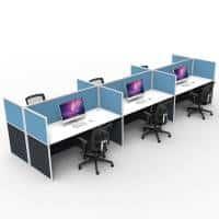 Space System Screen Hung Desk Tops, 6 Desks Back to Back, Blue Screens