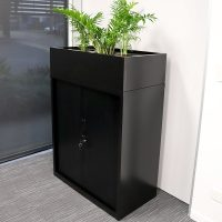 Super Strong Tambour Door Cabinet, 1200mm High, Black with Planter Box, Side View