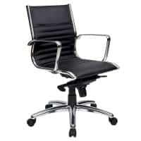 Atlantic Medium Back Chair, Black Leather