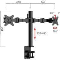 Lyla Standard Ergonomic Dual Monitor Arm, with Dimensions