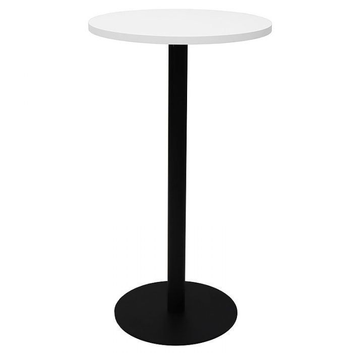 Stacey Round High Table, Natural White Table Top, Black Table Base