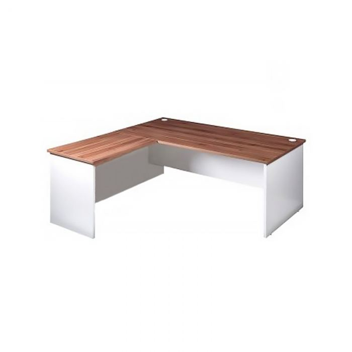 white desk with timber top