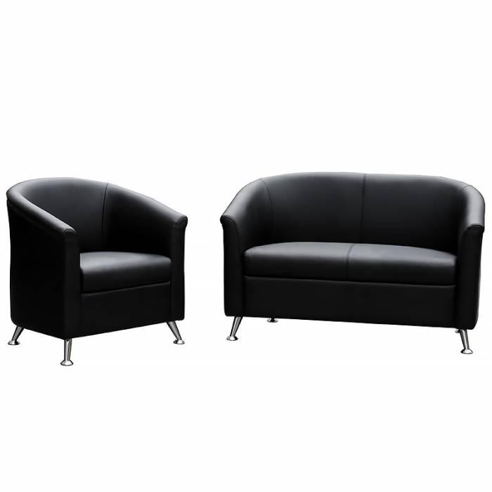 Black leather reception lounge