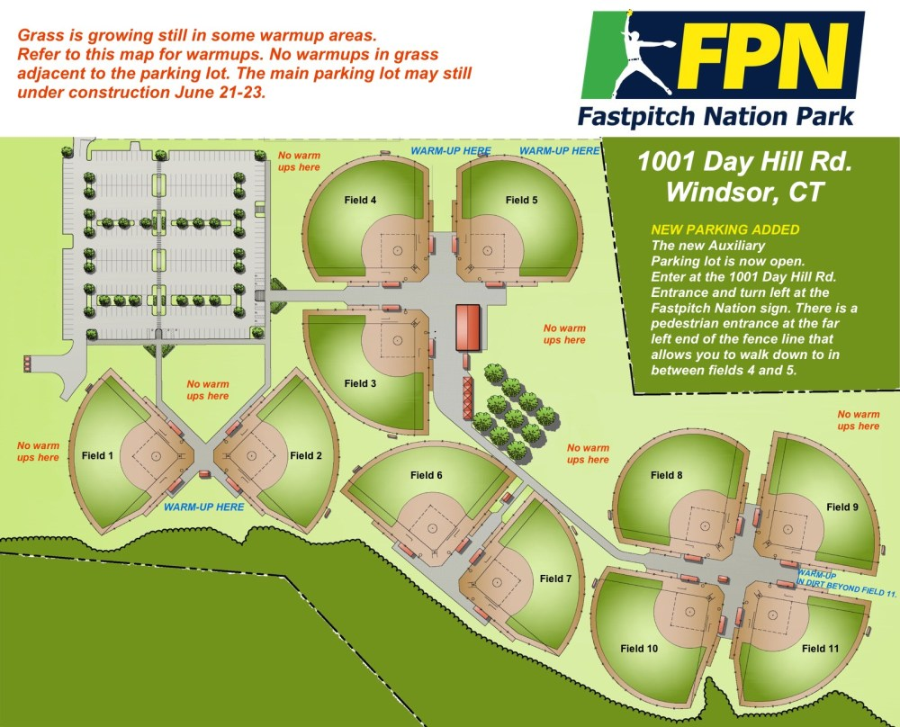 medium resolution of 325 paved parking spaces directly attached to the fields with an additional 600 paved spaces on the property