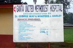 Sign in front of UMC Liberia Ganta Hospital
