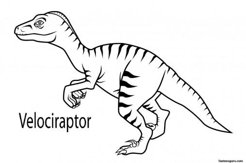Printable dinosaur velociraptor coloring in sheets