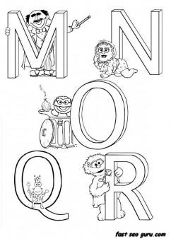 Printable Alphabet Sesame Street coloring in worksheets