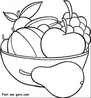 Printable Fruits Pear Grape Watermelon and apple coloring