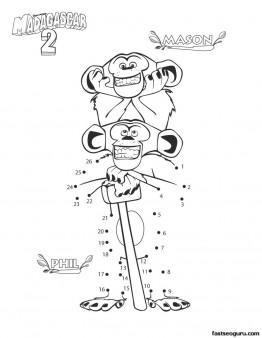 Printable madagascar 2 Mason and phil coloring page