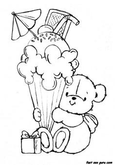 Printable teddy bear with birthday ice cream coloring