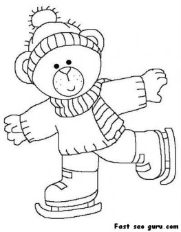 Printable cute bear on ice skates coloring page