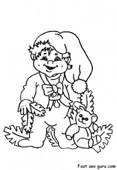 Printable cute boy christmas costume coloring page