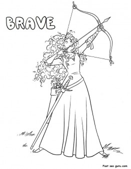 Printable Disney characters princess brave coloring sheet