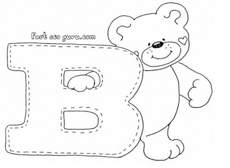 Print out letter B is for bear coloring pages for