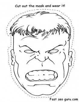 Printable Superheroes Hulk face cut out Coloring pages