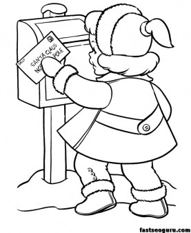 little girl sending a letter to Santa Claus coloring print