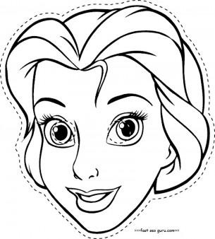 Disney princess cinderella face masks colorin in template