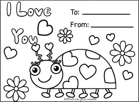 Print out happy valentines day ladybug coloring cards