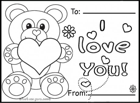 Printable valentines day cards teddy bears coloring pages