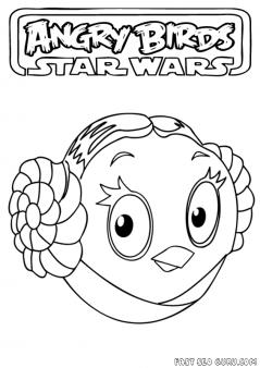 Printable Angry Birds Star Wars Princess Leia Coloring