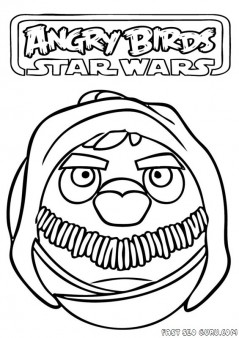 Printable Angry Birds Star Wars yado Coloring Pages