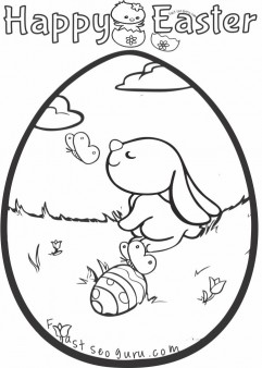 Printable easter bunny egg decorating coloring pages