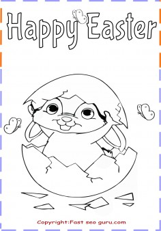 Easter bunny Hatching from Easter Egg Coloring Pages