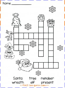 Christmas Word Crossword Puzzle For Kids Printable