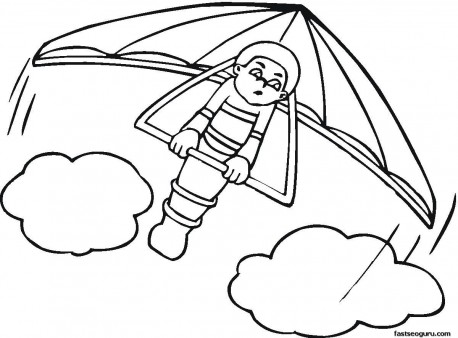Kids Coloring Pages Hang Glider Print Out Printable