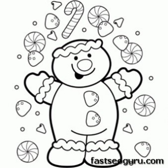 Printable Christmas a happy gingerbread boy coloring page