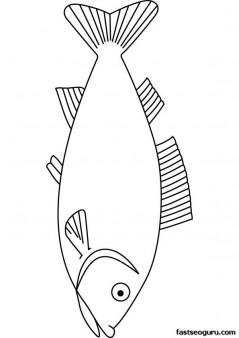 Printable Sea Fish torsk coloring page for kids