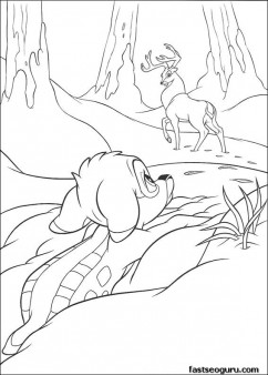 Print out Bambi and The Great Prince coloring page for