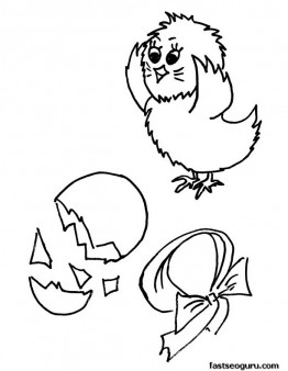 Printable Easter New Born Chick coloring page for kids
