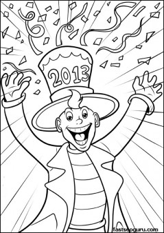 Printable Man celebrating new year 2013 coloring page for