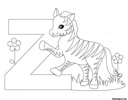 Printable Animal Alphabet worksheets Letter Z for Zebra
