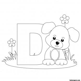 Printable Animal Alphabet worksheets Letter D for Dog
