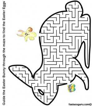 Printable Easter bunny maze to find the eggs worksheet