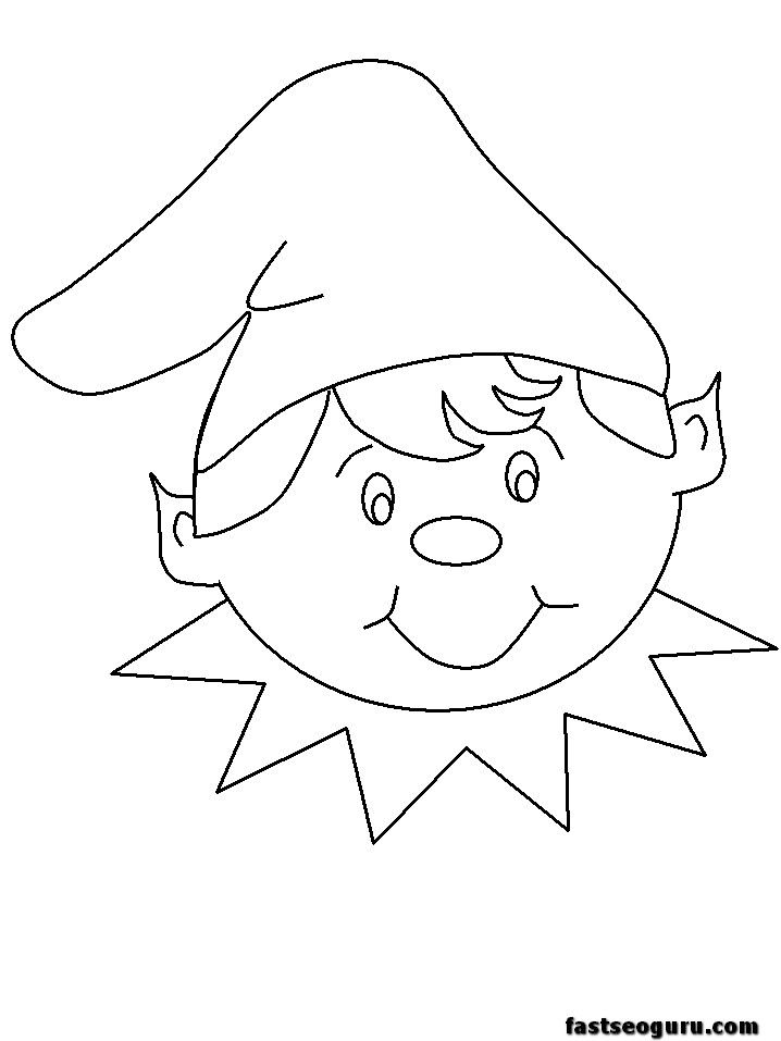 Printable Coloring pages of Christmas Elves happy faces