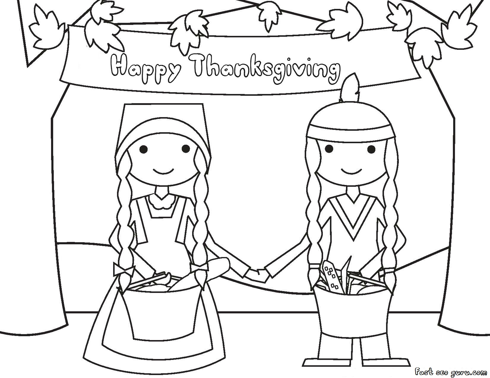 Happy Thanksgiving Native And Pilgrims Coloring Page