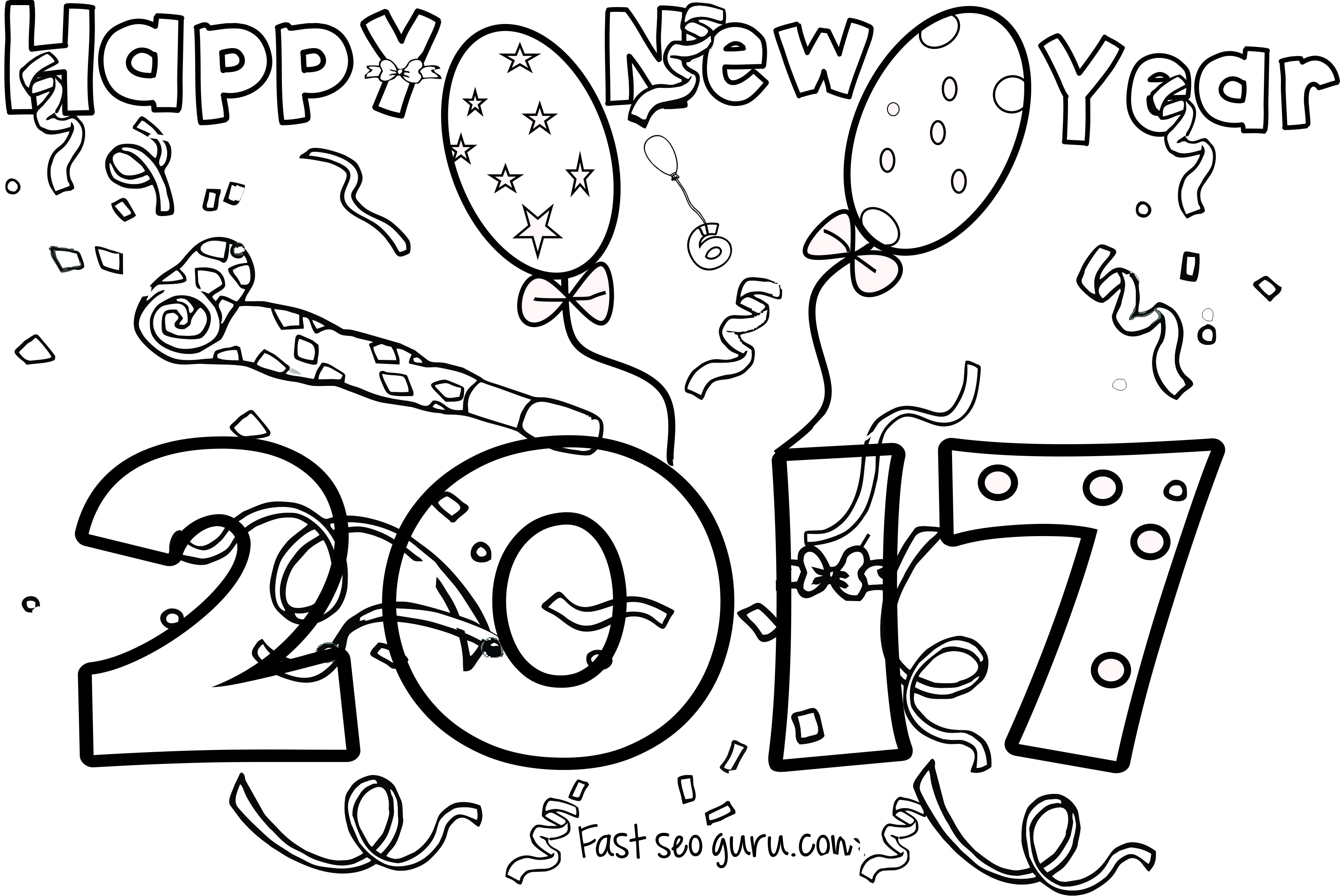 New Years Coloring Page For Kids