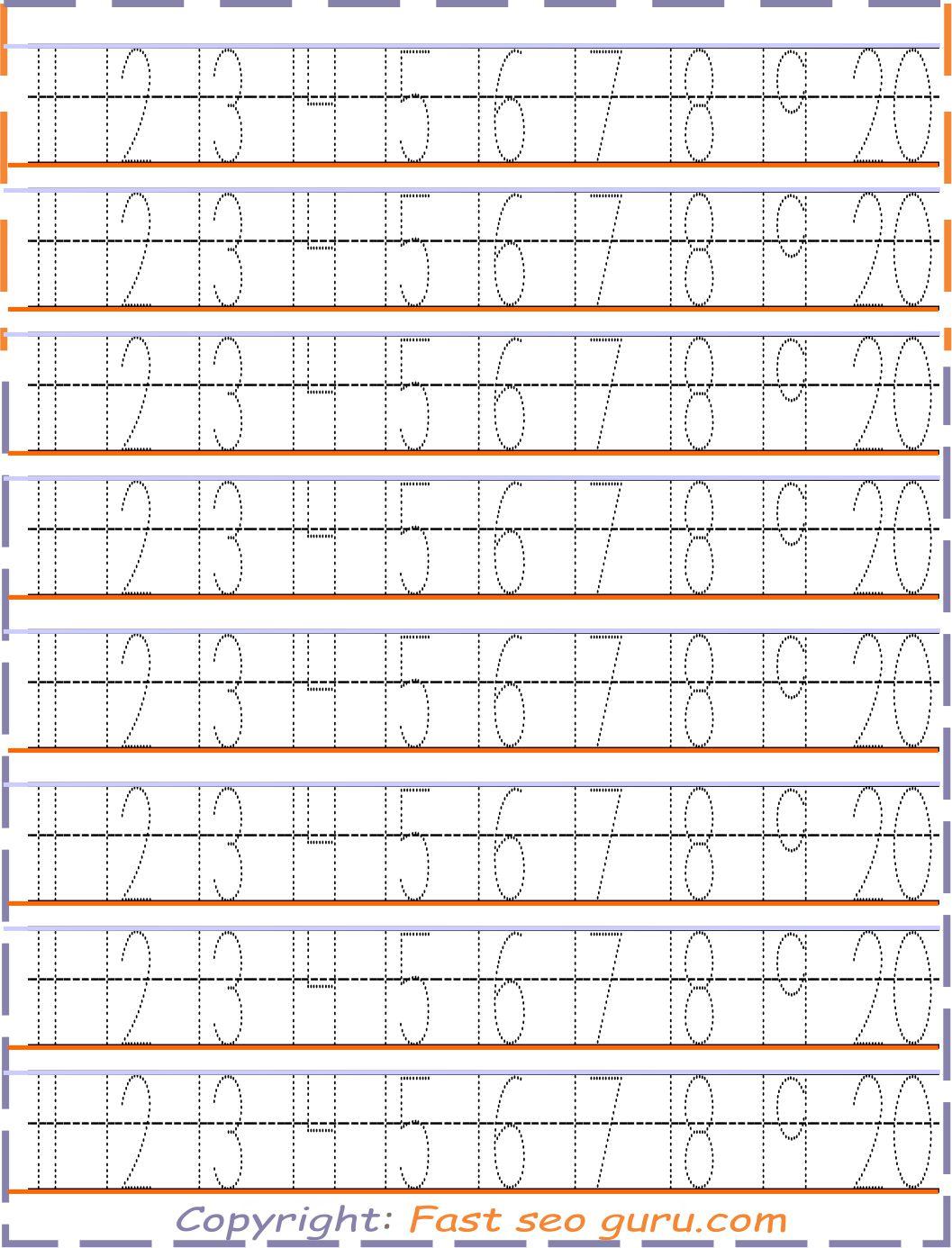 Number Tracing 12 20 Worksheets For Kids