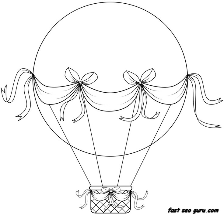 Air Balloon Coloring Page Fox In Hot Air Balloon Coloring Page
