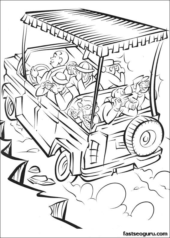 Print out Madagascar 2 safari in africa coloring page