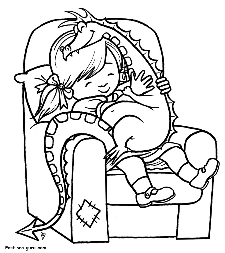 Print out girl playing with toy dragon coloring page