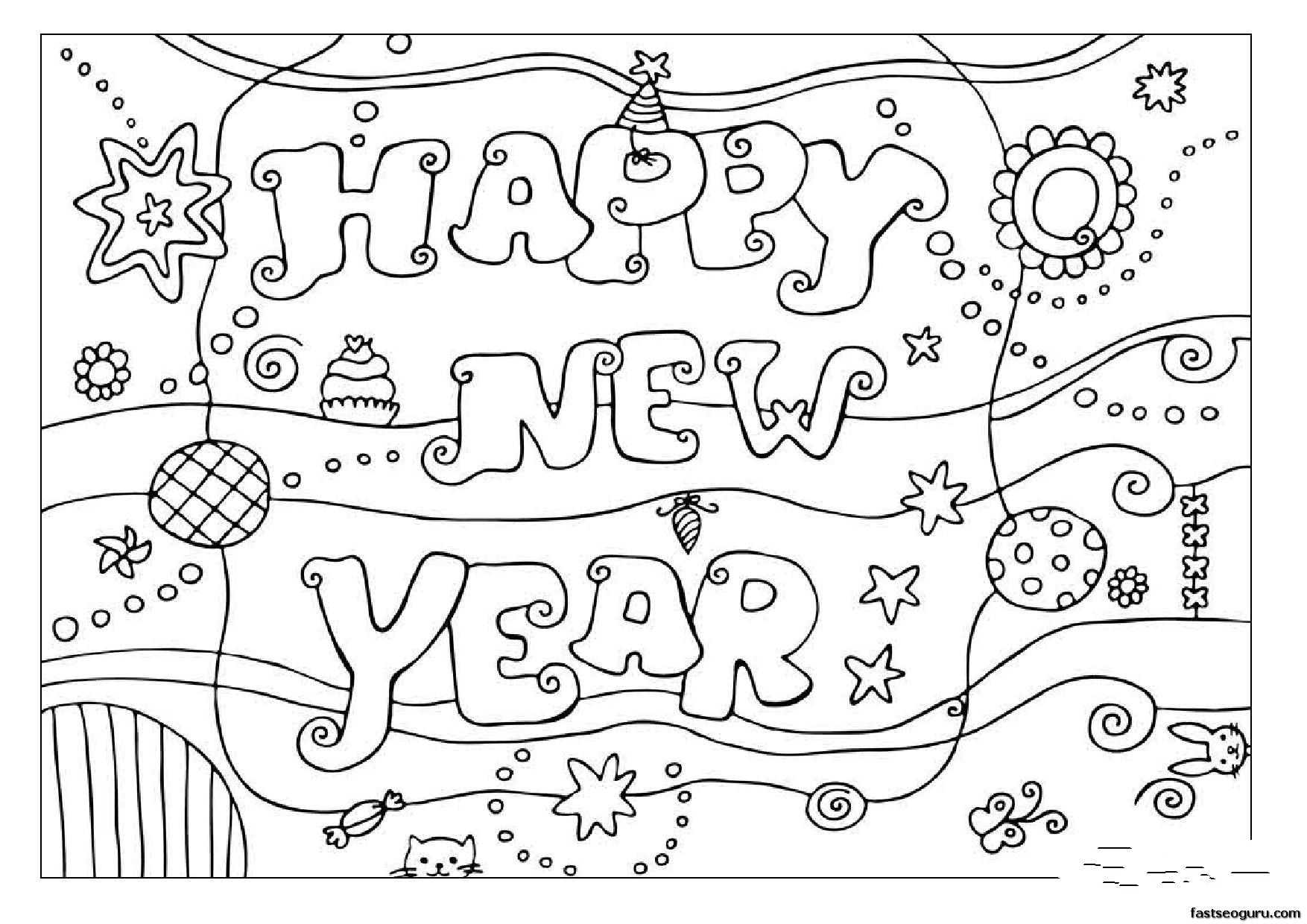 Printabel Coloring Pages Happy New Year